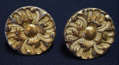 Vintage Drawer Pulls (Set of 2) Round Metal Gold Color Ornate Flower