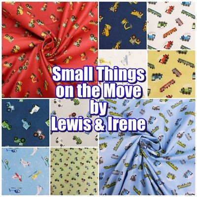 Lewis & Irene Small Things on the Move Cars Trains Farm Cotton Patchwork Fabric