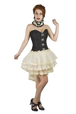Retro Steel Boned Black Corset Burlesque Steampunk Waist Cincher Skirt Set FREE
