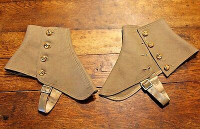 Antique Early 1900's Men's Tan / Taupe Wool w/Leather Straps Spats - FREE SHIP
