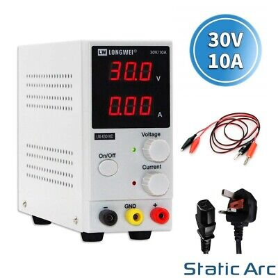 Adjustable Power Supply 30V 10A Dc Digital Led Precision Lab Variable 230V Uk