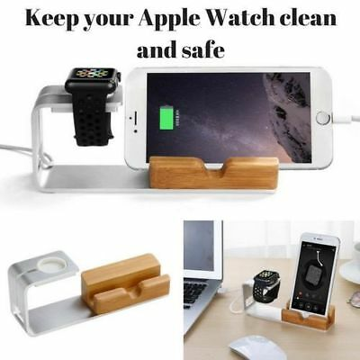iWatch iPhone Charging Dock Station Bamboo Bracket Holder Smartphone Stand