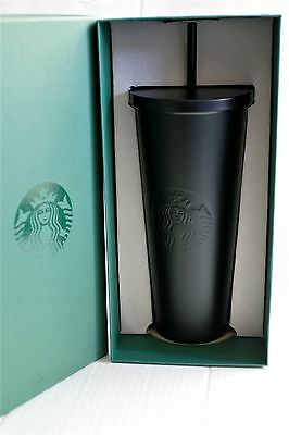 BRAND NEW 2016 STARBUCKS STAINLESS STEEL COLD CUP MATTE BLACK VENTI 24 OZ in BOX