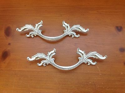 038 VTG French Provincial Handles White Shabby Chic 3 Available Keller Brass Co.