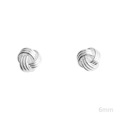 Solid 6mm 925 Sterling Silver Twisted Love Knot Wool Knot Stud Bridal Earrings