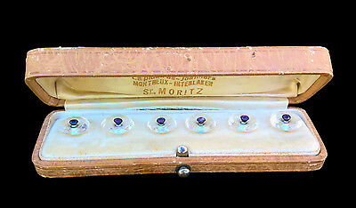 Outstanding Antique Rare Stunning Crystal Buttons Original Case Swiss Jewelers