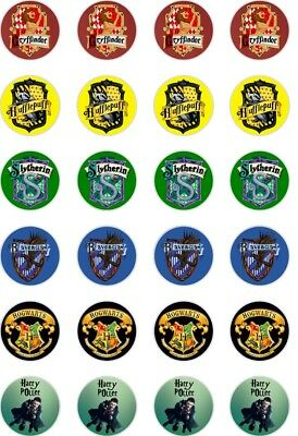 24 x PRECUT HARRY POTTER CREST CUP CAKE TOPPERS EDIBLE WAFER PAPER FAIRY TOPPERS