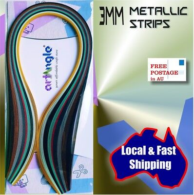 Brand New 100 x 3mm Metallic Assorted Quilling paper strips Quilling supplies