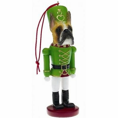 Boxer Fawn Cropped Dog Toy Soldier Nutcracker Christmas Ornament