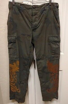 The Great China Wall Vintage Camo Cargo Pants with Phoenix Design