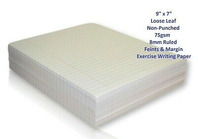 """School Writing Lined Exercise Paper 500 Sheets Ream 8mm Ruled Margin 9"""" x 7"""""""