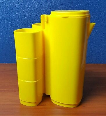 Yellow Picnic Pitcher Set 6 Attached Stacking Cups Fun Vintage Plastic Camping