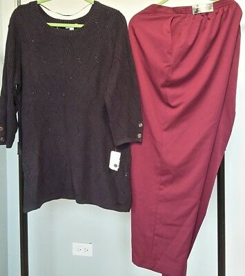 NWT Charter Club Swirl Knit Sweater & Alfred Dunner Cranberry Pants SIZE 2X $135