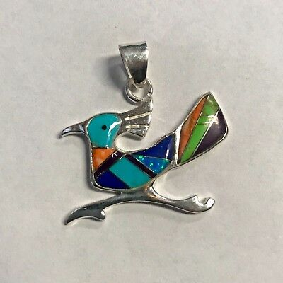 Sterling Silver Handmade Inlay Multi-Stone RoadRunner Turquoise Coral Pendant