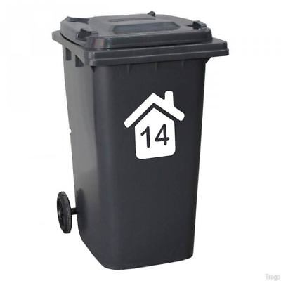 4 Wheelie Bin house number stickers -secure your dustbin with our vinyl stickers