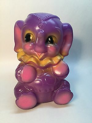 Purple Elephant Bank Dreamland Creation Rubber Squeeze Toy 1969 Whimsical B17