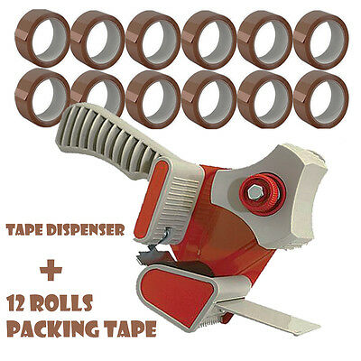 Packing Tape Dispenser Gun Parcel Packaging + 12 Rolls Brown Packing Tape P97