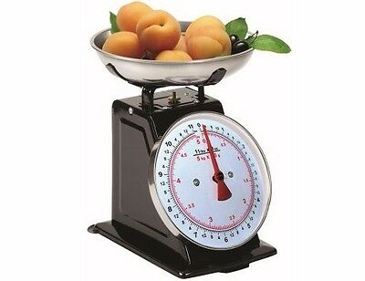 5KG BLACK KITCHEN SCALES TRADITIONAL 11LBS ANALOGUE DIAL 20g INCREMENT WEIGH H11
