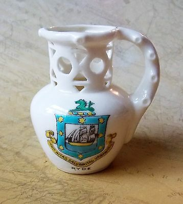 Vintage Edwardian Era 7cm English Miniature China Puzzle Jug Souvenir Of Ryde