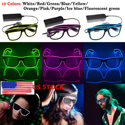 Flashing LED Neon Wire Light Up Sunglasses EL Glasses Glow Party Club Xmas Funny