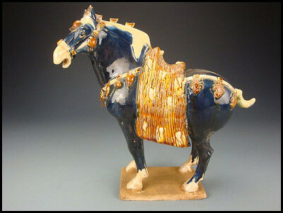 Ancient Chinese Tang Dynasty Sancai Blue Glazed Pottery Horse