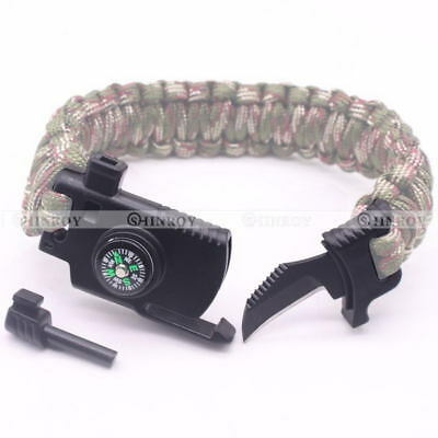 EDC Multifunction Outdoor Survival Knife Whistle flint Parachute Cord Buckle
