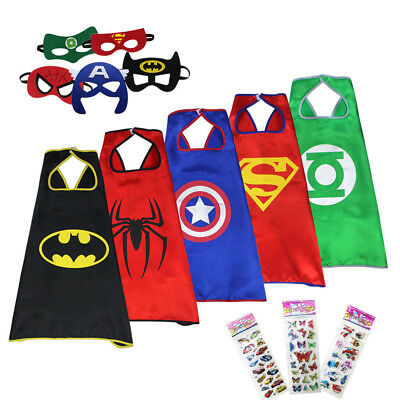 5 Pack Superhero Capes & Masks Fancy Dress Costumes Stickers Kids Birthday Party