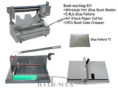 Glue Binding Binder machine +Paper Creaser+ Paper Cutter For Printing Shop
