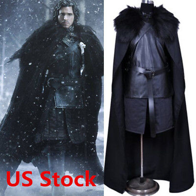 Game of Thrones Jon Snow Cosplay Halloween Fancy Party Men's Costume Outfit New~
