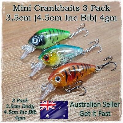 3 Bream & Trout Fishing Lures Perch, Redfin, Flathead Yellowbelly, Whiting 3.5cm