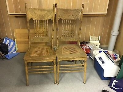 4 Antique Oak Spindle Pressed Back Cane Chairs