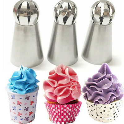 3pcs Sphere Ball Russian Icing Piping Nozzles Tips Cake Decor Pastry Cupcake