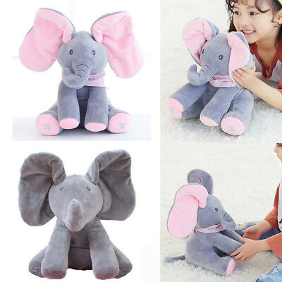 Animated Singing Elephant Stuffed Baby Toy Peek-a-Boo Plush Animal Play Music