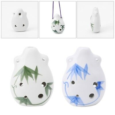 6 Holes Ocarina Ceramic A/C/F Key Painted Musical Instrument Gift Bamboo