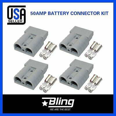 4pcs Gray 600V 50AMP Battery DC Power Solar Exterior Wire Connector Caravan Kit