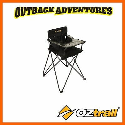 Oztrail Baby Junior High Chair - Black - Toddler Baby Camping Outdoor Hi-Chair
