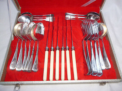 VINTAGE GROSVENOR CUTLERY in CANTEEN BOX setting for 4 - good condition