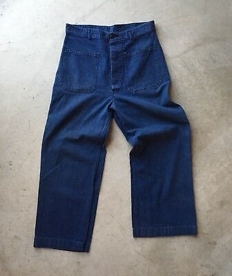 Vintage 1940s WW2 US Navy Denim Sailor Pants Dungarees In Great Condition 32x29