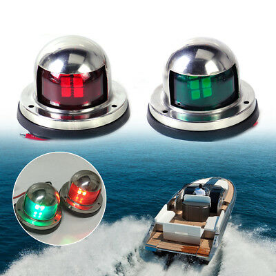 2x Stainless Steel LED Yacht Light Bow Red + Green Navigation Lights Marine Boat