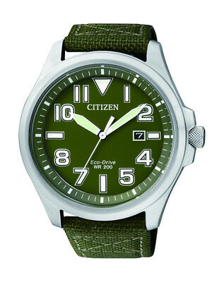 NEW Citizen Mens Silver Stainless Steel Eco-Drive Date Watch - AW1410-32X