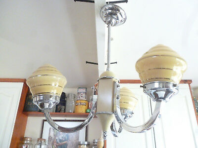 ANTIQUE LARGE ART DECO 3 BRANCH CEILING LIGHT complete with GLASS SHADES - vgc