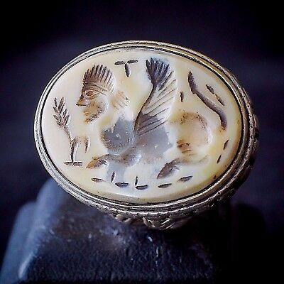 Antique Agate walking Sphinx Spreading Wings Bull Holder Sterling Silver Ring