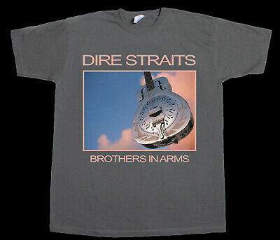 Dire Straits Brothers In Arms Mark Knopfler Rock New Grey Charcoal T-Shirt
