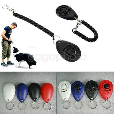 Dog Pet Button Click Clicker Training Obedience Agility Trainer Aid Wrist Strap