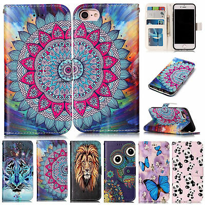 Pattern Flip Wallet PU Leather Case Cover Stand Card Holder For iPhone Samsung