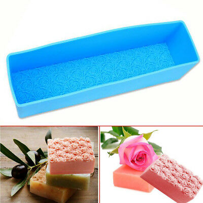 Rectangle Silicone Rose Soap Mold Cake Cookie Candle Chocolate DIY Baking Mould