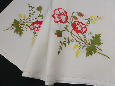 Vintage Linen Tablecloth-Hand Embroidered Red Poppy's-Golden Wattle