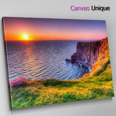 SC791 seaside cliffs sunset Scenic Wall Art Picture Large Canvas Print