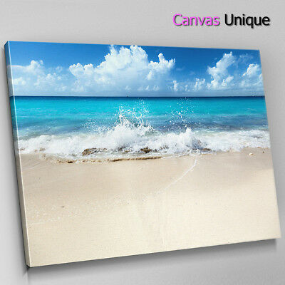 SC812 beach sand sea waves crash Scenic Wall Art Picture Large Canvas Print