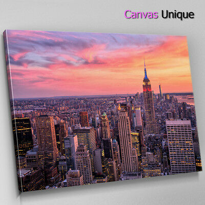 SC1029 new york skyling at dusk Scenic Wall Art Picture Large Canvas Print